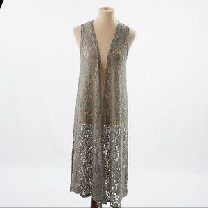 LulaRoe Lace Sage Green Joy Long Cardigan Size XS